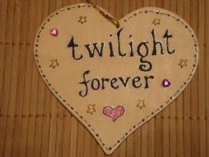 **SALE** was £3.99 Twilight Forever Vampire Fans Wooden Heart HangerHandmade Unique Sign for Twihards Shabby Chic OOAK Gift